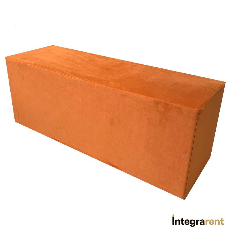 Noleggio Panca Rettangolare in Velluto Arancione