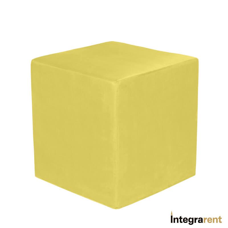 Noleggio Pouf Cubo Velluto Giallo Senape