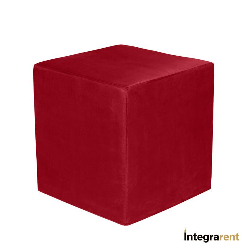 Noleggio Pouf Cubo Velluto Rosso