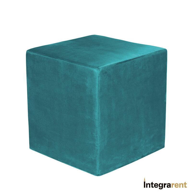 Noleggio Pouf Cubo Velluto Ottanio