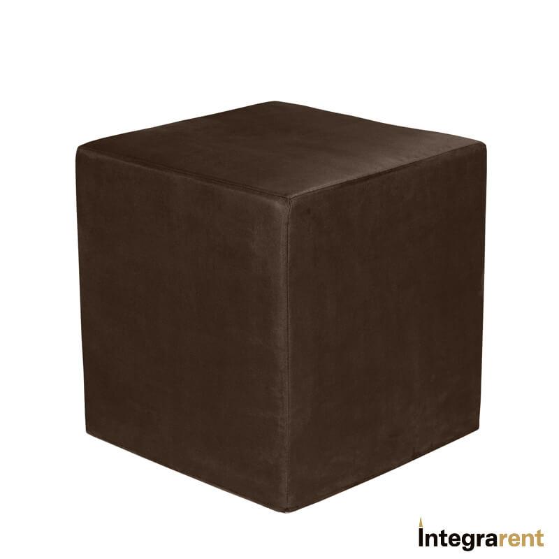 Noleggio Pouf Cubo Velluto Marrone