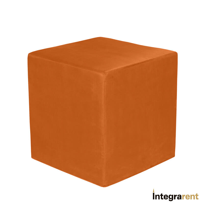 Noleggio Pouf Cubo Velluto Arancione