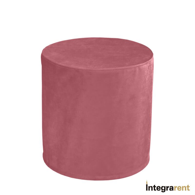 Noleggio Pouf Tondo Velluto Rosa