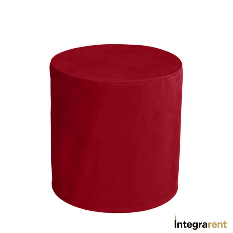 Noleggio Pouf Tondo Velluto Rosso