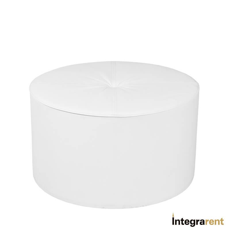Noleggio Pouf Tondo in Pelle Bianco
