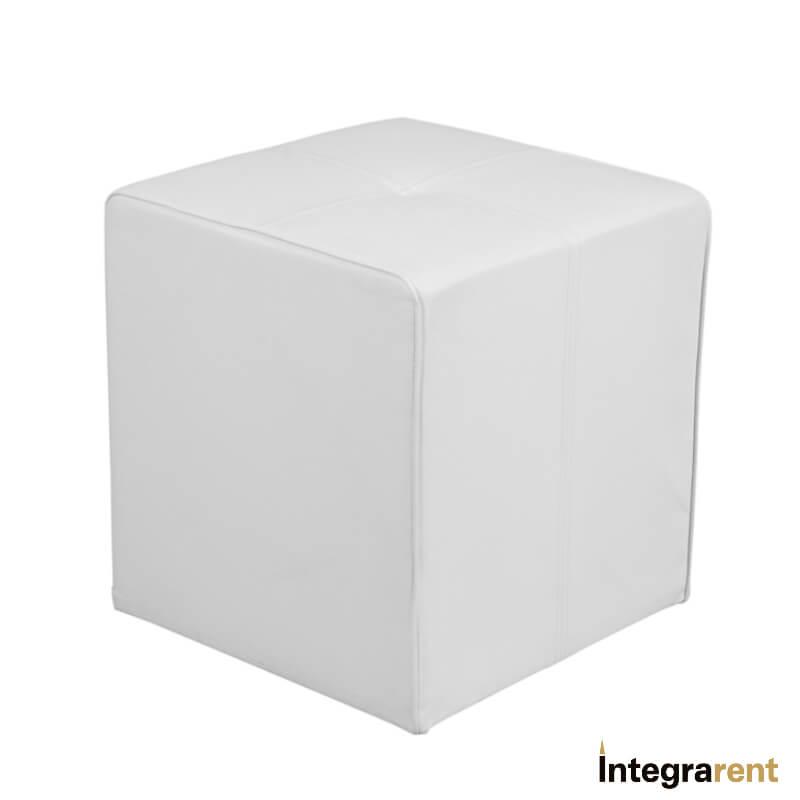 Noleggio Pouf Cubo in Pelle Bianco