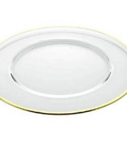 Noleggio Sottopiatto Vetro Trasparente Filo Oro Ø cm.32