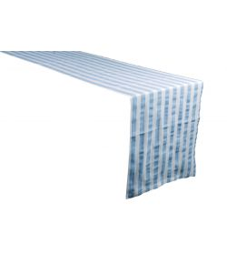 Noleggio Runner Cotone Riga Country cm. 50x300 Azzurro